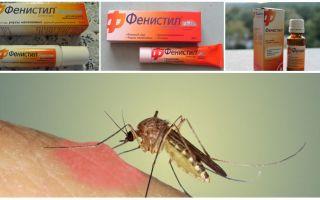 Sivrisinek ısırıklarından Gel Fenistil: talimatlar, yorumlar ve analogları